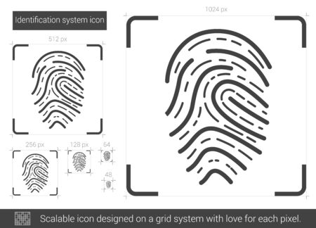 scalable: Identification system vector line icon isolated on white background. Identification system line icon for infographic, website or app. Scalable icon designed on a grid system.