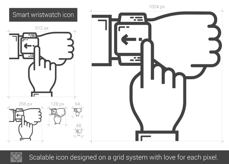 smart grid: Smart wristwatch vector line icon isolated on white background. Smart wristwatch line icon for infographic, website or app. Scalable icon designed on a grid system.
