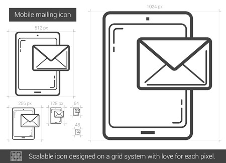 recieve: Mobile mailing vector line icon isolated on white background. Mobile mailing line icon for infographic, website or app. Scalable icon designed on a grid system.