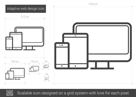 adaptive: Adaptive web design vector line icon isolated on white background. Adaptive web design line icon for infographic, website or app. Scalable icon designed on a grid system.