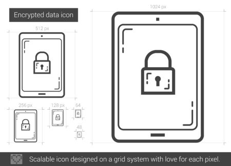 scalable: Encrypted data vector line icon isolated on white background. Encrypted data line icon for infographic, website or app. Scalable icon designed on a grid system. Illustration
