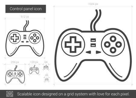 pad: Game pad vector line icon isolated on white background. Game pad line icon for infographic, website or app. Scalable icon designed on a grid system.