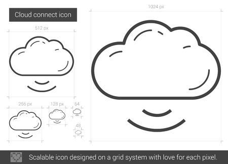 Cloud connect vector line icon isolated on white background. Cloud connect line icon for infographic, website or app. Scalable icon designed on a grid system. 向量圖像