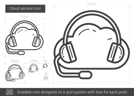 scalable: Cloud service vector line icon isolated on white background. Cloud service line icon for infographic, website or app. Scalable icon designed on a grid system. Illustration