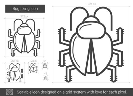 Bug fixing vector line icon isolated on white background. Bug fixing line icon for infographic, website or app. Scalable icon designed on a grid system. 版權商用圖片 - 62516529