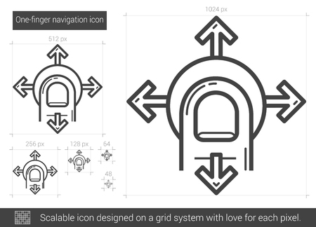 scalable: One-finger navigation vector line icon isolated on white background. One-finger navigation line icon for infographic, website or app. Scalable icon designed on a grid system.