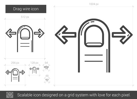 drag: Drag wire vector line icon isolated on white background. Drag wire line icon for infographic, website or app. Scalable icon designed on a grid system. Illustration