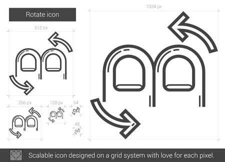 Rotate vector line icon isolated on white background. Rotate line icon for infographic, website or app. Scalable icon designed on a grid system. Vettoriali