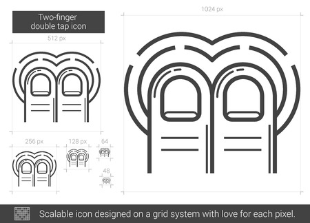 double tap: Two-finger double tap vector line icon isolated on white background. Two-finger double tap line icon for infographic, website or app. Scalable icon designed on a grid system.
