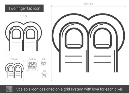 forefinger: Two-finger tap vector line icon isolated on white background. Two-finger tap line icon for infographic, website or app. Scalable icon designed on a grid system.