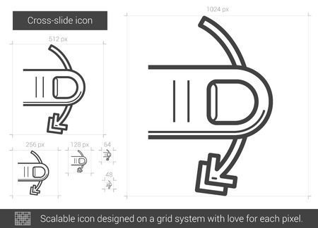 scalable: Cross-slide vector line icon isolated on white background. Cross-slide line icon for infographic, website or app. Scalable icon designed on a grid system.