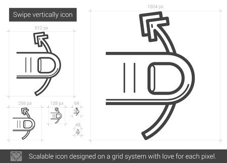 swipe: Swipe vertically vector line icon isolated on white background. Swipe vertically line icon for infographic, website or app. Scalable icon designed on a grid system. Illustration