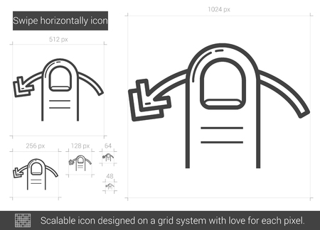 touchpad: Swipe horizontally vector line icon isolated on white background. Swipe horizontally line icon for infographic, website or app. Scalable icon designed on a grid system. Illustration