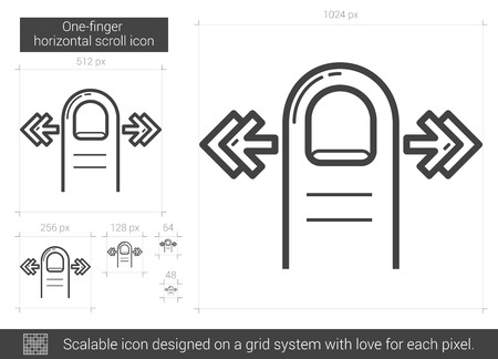 touchpad: One-finger horizontal scroll vector line icon isolated on white background. One-finger horizontal scroll line icon for infographic, website or app. Scalable icon designed on a grid system.