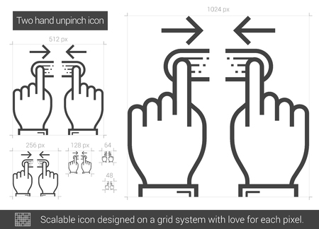 multitouch: Two hand unpinch vector line icon isolated on white background. Two hand unpinch line icon for infographic, website or app. Scalable icon designed on a grid system.
