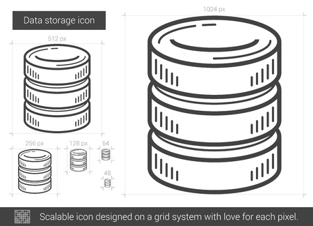 gigabyte: Data storage vector line icon isolated on white background. Data storage line icon for infographic, website or app. Scalable icon designed on a grid system.