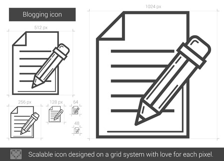 scalable: Blogging vector line icon isolated on white background. Blogging line icon for infographic, website or app. Scalable icon designed on a grid system. Illustration