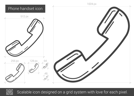 handset: Phone handset vector line icon isolated on white background. Phone handset line icon for infographic, website or app. Scalable icon designed on a grid system. Illustration