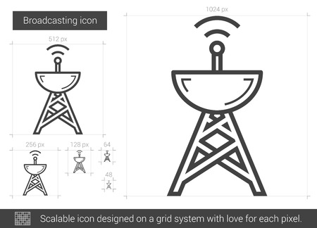 space antenna: Broadcasting vector line icon isolated on white background. Broadcasting line icon for infographic, website or app. Scalable icon designed on a grid system.