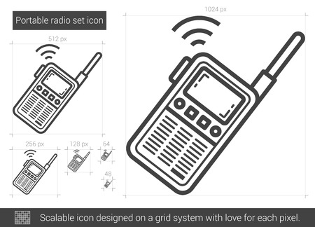 transmit: Portable radio set vector line icon isolated on white background. Portable radio set line icon for infographic, website or app. Scalable icon designed on a grid system.