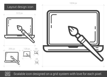 laptop screen: Layout design vector line icon isolated on white background. Layout design line icon for infographic, website or app. Scalable icon designed on a grid system.