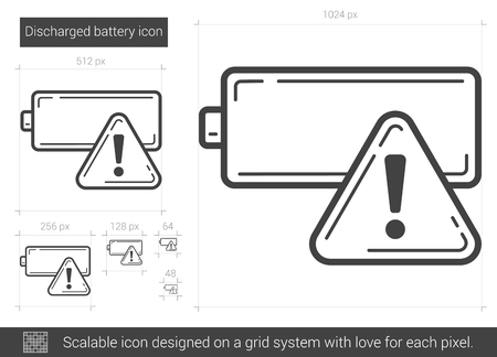 warning indicator: Discharged battery vector line icon isolated on white background. Discharged battery line icon for infographic, website or app. Scalable icon designed on a grid system.