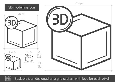 modelling: Three D modelling vector line icon isolated on white background. Three D modelling line icon for infographic, website or app. Scalable icon designed on a grid system. Illustration