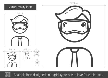 scalable: Virtual reality vector line icon isolated on white background. Virtual reality line icon for infographic, website or app. Scalable icon designed on a grid system. Illustration