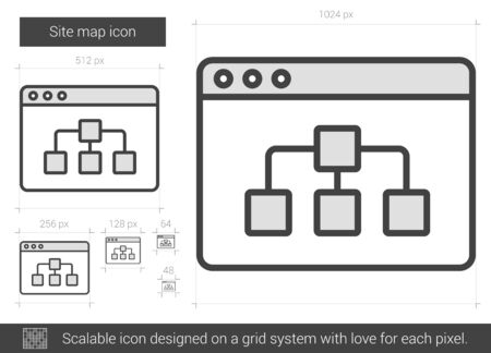 Site map vector line icon isolated on white background. Site map line icon for infographic, website or app. Scalable icon designed on a grid system.