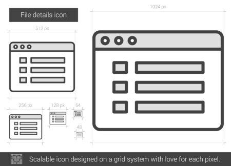 bytes: File details vector line icon isolated on white background. File details line icon for infographic, website or app. Scalable icon designed on a grid system.