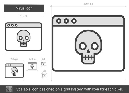 scalable: Virus vector line icon isolated on white background. Virus line icon for infographic, website or app. Scalable icon designed on a grid system. Illustration