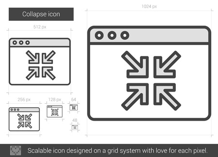 Collapse vector line icon isolated on white background. Collapse line icon for infographic, website or app. Scalable icon designed on a grid system. Иллюстрация