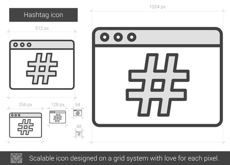 scalable: Hashtag vector line icon isolated on white background. Hashtag line icon for infographic, website or app. Scalable icon designed on a grid system. Illustration