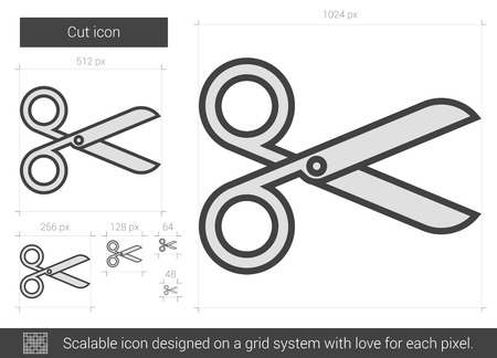scissors icon: Cut vector line icon isolated on white background. Cut line icon for infographic, website or app. Scalable icon designed on a grid system.