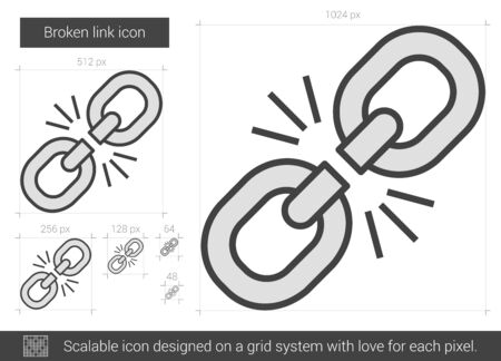 Broken link vector line icon isolated on white background. Broken link line icon for infographic, website or app. Scalable icon designed on a grid system. Ilustração