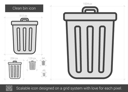 Clean bin vector line icon isolated on white background. Clean bin line icon for infographic, website or app. Scalable icon designed on a grid system.
