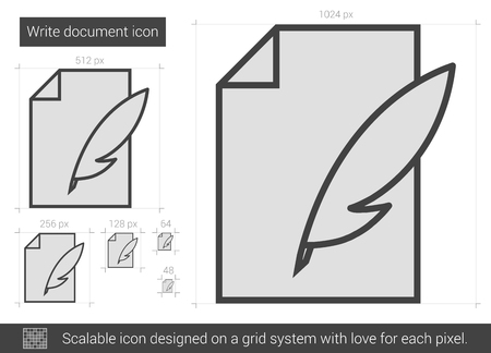 scalable: Write document vector line icon isolated on white background. Write document line icon for infographic, website or app. Scalable icon designed on a grid system. Illustration