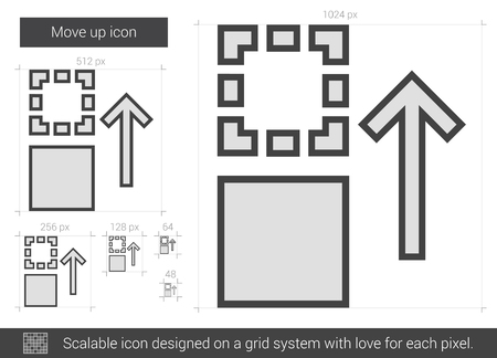 shifting: Move up vector line icon isolated on white background. Move up line icon for infographic, website or app. Scalable icon designed on a grid system.