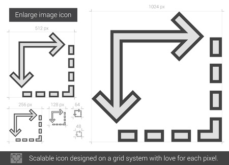 enlarge: Enlarge image vector line icon isolated on white background. Enlarge image line icon for infographic, website or app. Scalable icon designed on a grid system. Illustration