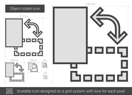scalable: Object rotate vector line icon isolated on white background. Object rotate line icon for infographic, website or app. Scalable icon designed on a grid system. Illustration