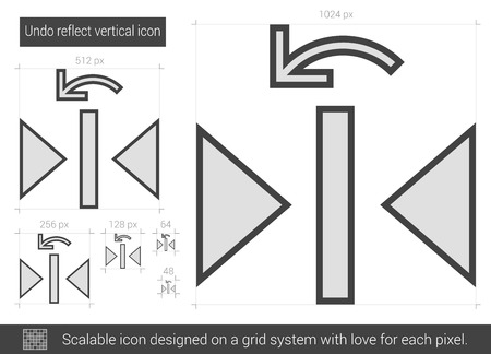 undo: Undo reflect vertical vector line icon isolated on white background. Undo reflect vertical line icon for infographic, website or app. Scalable icon designed on a grid system. Illustration