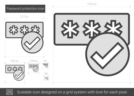 password protection: Password protection vector line icon isolated on white background. Password protection line icon for infographic, website or app. Scalable icon designed on a grid system. Illustration