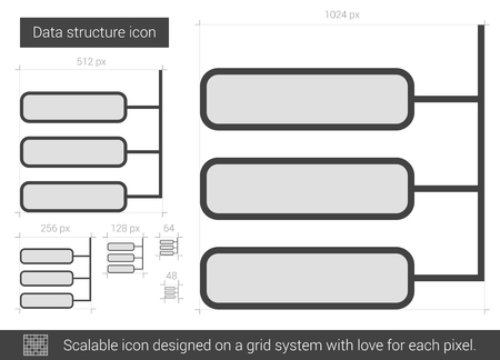 Data Structure Vector Line Icon Isolated On White Background For Infographic