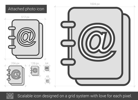 Attached photo vector line icon isolated on white background. Attached photo line icon for infographic, website or app. Scalable icon designed on a grid system. Reklamní fotografie - 62436453