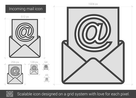 incoming: Incoming mail vector line icon isolated on white background. Incoming mail line icon for infographic, website or app. Scalable icon designed on a grid system.