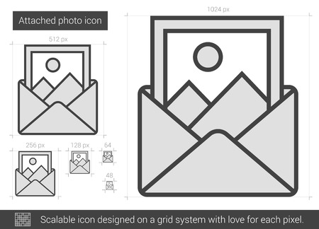 Attached photo vector line icon isolated on white background. Attached photo line icon for infographic, website or app. Scalable icon designed on a grid system. Reklamní fotografie - 62436487