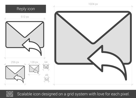 scalable: Reply vector line icon isolated on white background. Reply line icon for infographic, website or app. Scalable icon designed on a grid system.