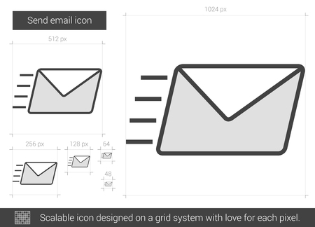 envelope icon: Send email vector line icon isolated on white background. Send email line icon for infographic, website or app. Scalable icon designed on a grid system.