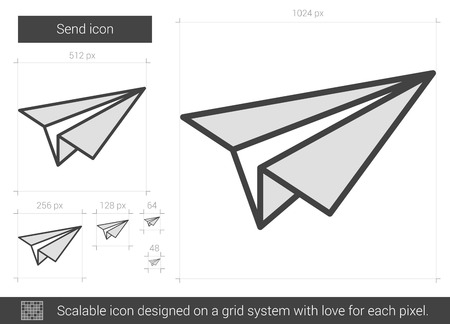 Send vector line icon isolated on white background. Send line icon for infographic, website or app. Scalable icon designed on a grid system. Illustration