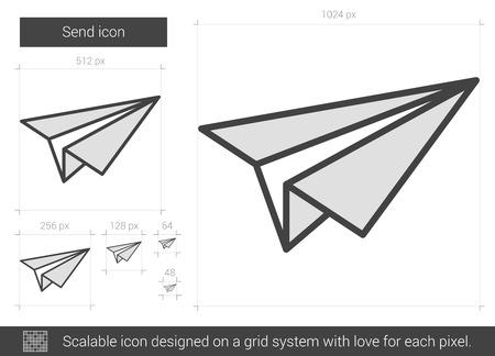 Stuur vector lijn pictogram op een witte achtergrond. Stuur lijn pictogram van infographic, website of app. Schaalbaar pictogram ontworpen op een grid-systeem. Stock Illustratie